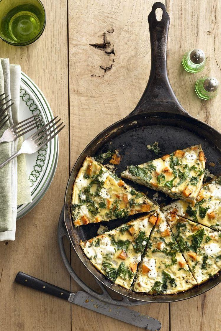 """<p>If you'd rather skip the raw kale salad at lunch, then try getting your fix at breakfast with this healthy frittata. </p><p><em> <a href=""""https://www.goodhousekeeping.com/food-recipes/a15996/sweet-potato-kale-frittata-recipe-clx0914/"""" rel=""""nofollow noopener"""" target=""""_blank"""" data-ylk=""""slk:Get the recipe for Sweet Potato and Kale Frittata »"""" class=""""link rapid-noclick-resp"""">Get the recipe for Sweet Potato and Kale Frittata »</a></em></p><p><strong>RELATED: </strong><a href=""""https://www.goodhousekeeping.com/food-recipes/g4201/best-brunch-recipes/"""" rel=""""nofollow noopener"""" target=""""_blank"""" data-ylk=""""slk:55 Sweet and Savory Brunch Recipes to Make this Weekend"""" class=""""link rapid-noclick-resp"""">55 Sweet and Savory Brunch Recipes to Make this Weekend</a> <br></p>"""