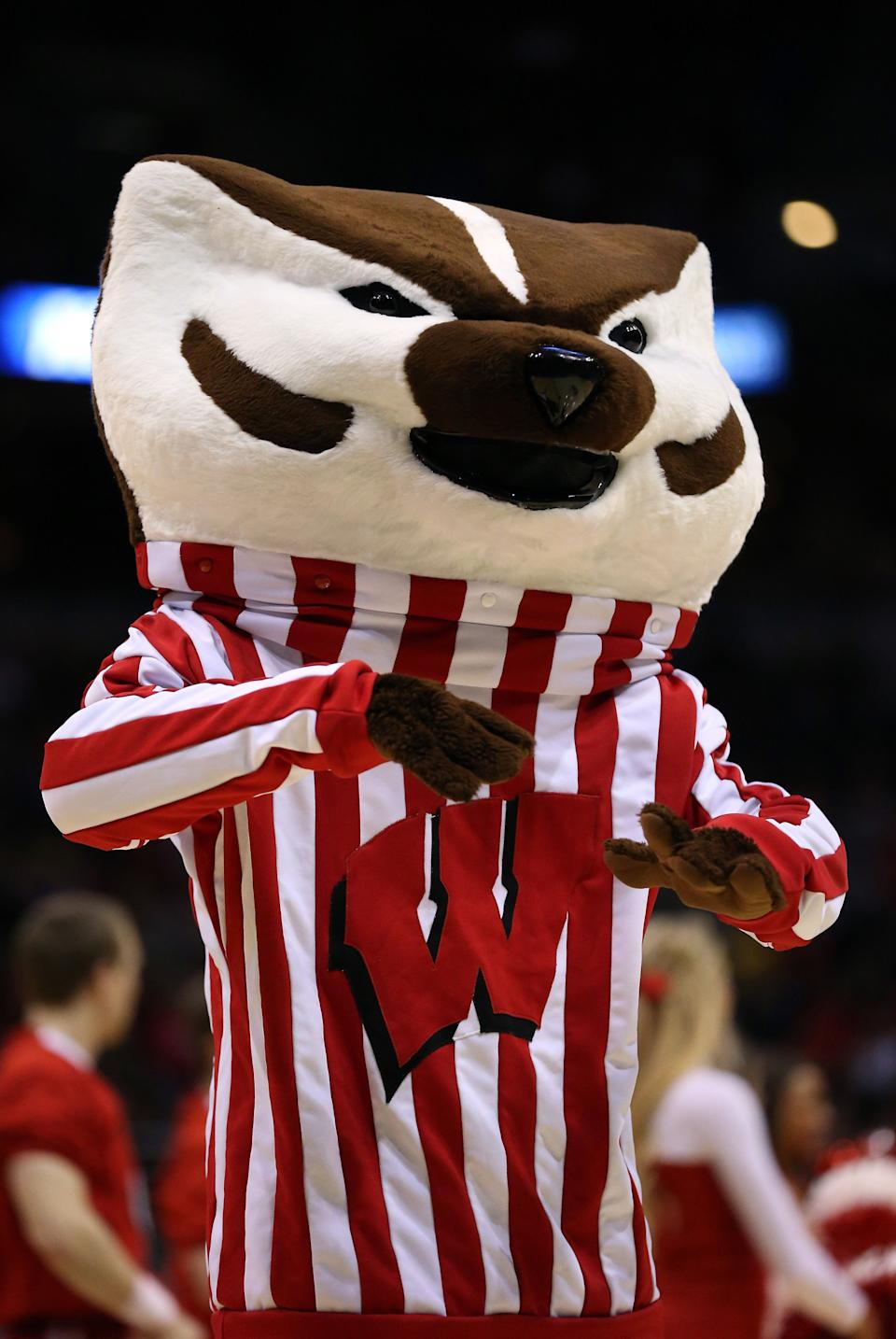MILWAUKEE, WI - MARCH 20:  The Wisconsin Badgers mascot, Bucky Badger, performs during the second round game of NCAA Basketball Tournament against the American University Eagles at BMO Harris Bradley Center on March 20, 2014 in Milwaukee, Wisconsin.  (Photo by Jonathan Daniel/Getty Images)