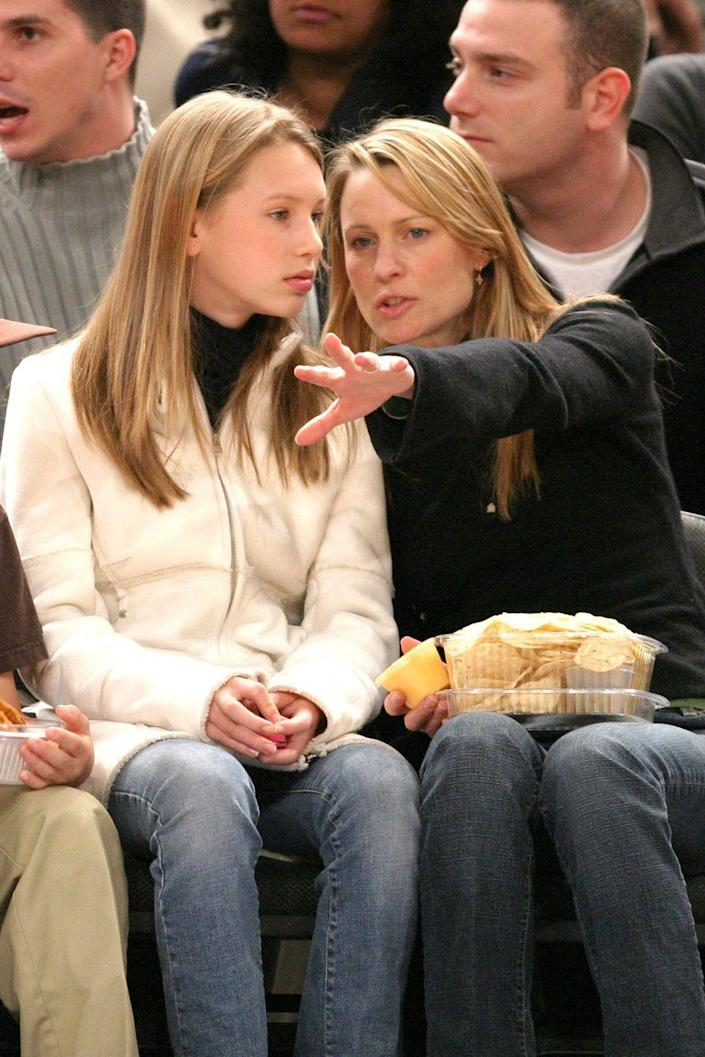 <p>Dylan Penn, Robin Wright's daughter from her marriage to Sean Penn, is pictured here at a New York Knicks game in 2004. She was born in 1991. </p>