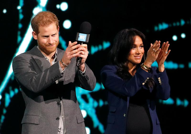 Britain's Prince Harry and Meghan, Duchess of Sussex, attend the WE Day UK event at the SSE Arena in Wembley, London, Britain, March 6, 2019. REUTERS/Peter Nicholls