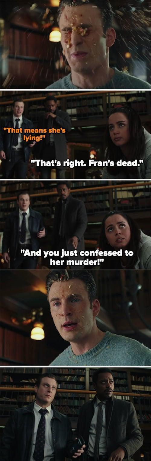 """Marta tricking Ransom into confessing by lying that Fran has survived and will implicate him; then she vomits on him, revealing the lie on """"Knives Out"""""""