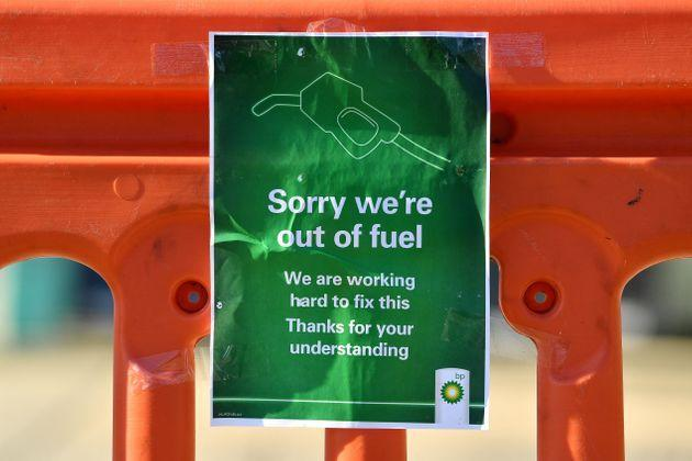A sign outside a BP petrol station in Hildenborough (Photo: BEN STANSALL via Getty Images)