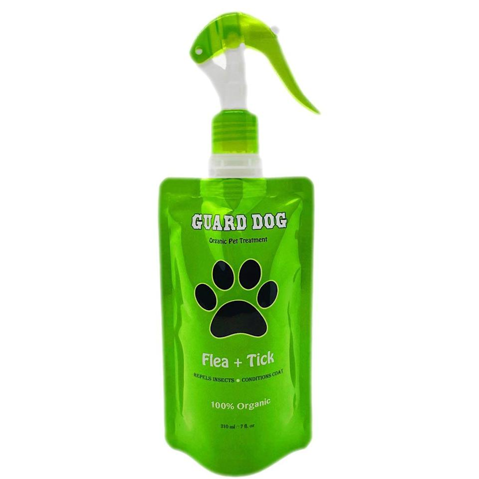 """<p>Pet parents can keep their pups protected during outdoor adventures with this organic flea and tick spray. </p> <p><strong>Buy it!</strong> Flea + Tick Spray, $20.00; <a href=""""https://guarddogpro.co/collections/frontpage/products/flea-tick-spray?variant=39600144679109"""" rel=""""nofollow noopener"""" target=""""_blank"""" data-ylk=""""slk:GuardDogPro.com"""" class=""""link rapid-noclick-resp"""">GuardDogPro.com</a></p>"""