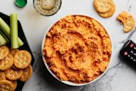 """This just might be the ultimate pimento cheese, packed with cheddar, Parmesan, pepper Jack, cream cheese, and mayo. Pimento peppers, too, of course. <a href=""""https://www.epicurious.com/recipes/food/views/five-cheese-pimento-cheese?mbid=synd_yahoo_rss"""" rel=""""nofollow noopener"""" target=""""_blank"""" data-ylk=""""slk:See recipe."""" class=""""link rapid-noclick-resp"""">See recipe.</a>"""