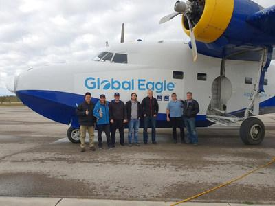 Gilat, Global Eagle and Telesat engineers with the IFC over LEO test plane in Canada