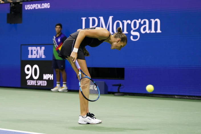 Karolina Pliskova, of the Czech Republic, reacts after winning a point against Amanda Anisimova, of the United States, during the second round of the US Open tennis championships, Thursday, Sept. 2, 2021, in New York. (AP Photo/Frank Franklin II)