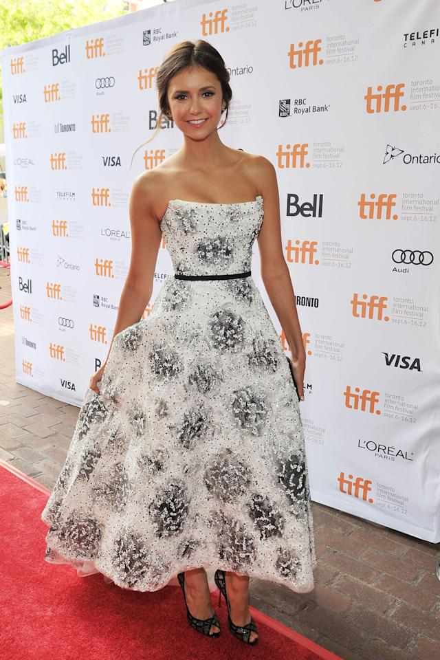 """BEST: Nina Dobrev has yet to make a fashion misstep at TIFF, and the """"Perks of Being a Wallflower"""" premiere was no exception. The """"Vampire Diaries"""" actress came out in a flowing Monique Lhuillier dress that was both elegant and not too formal."""