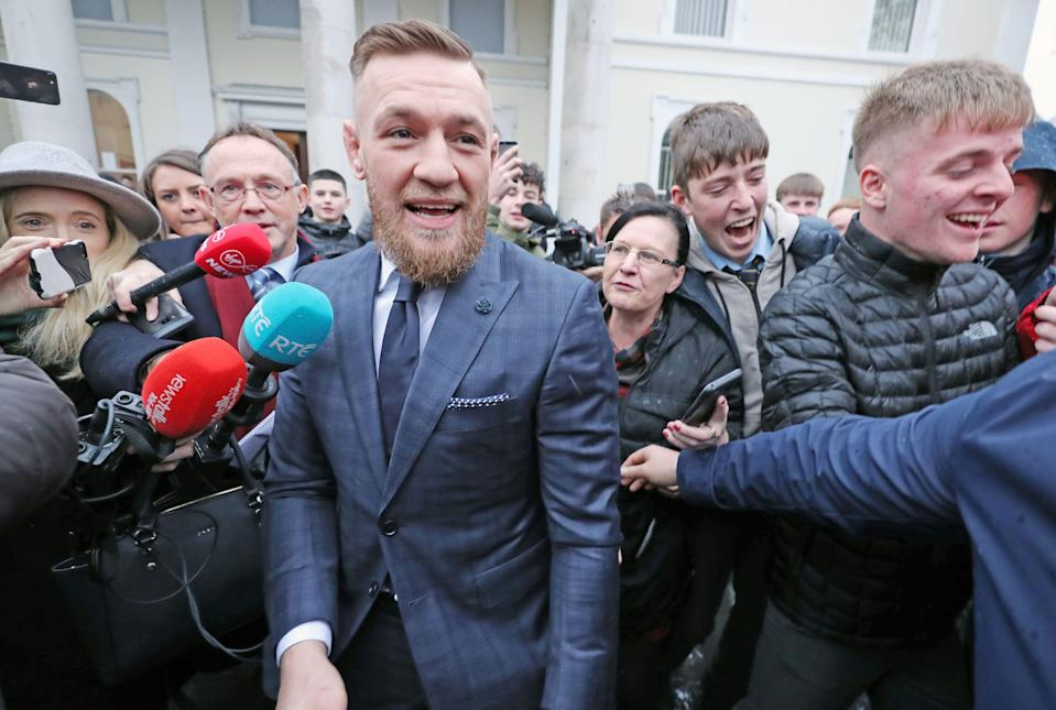 Conor McGregor leaving Naas District Court in Co Kildare, where he was disqualified from driving for six months and fined 1,000 euro after admitting driving at 154 kilometres per hour in a 100 zone. (Photo by Niall Carson/PA Images via Getty Images)