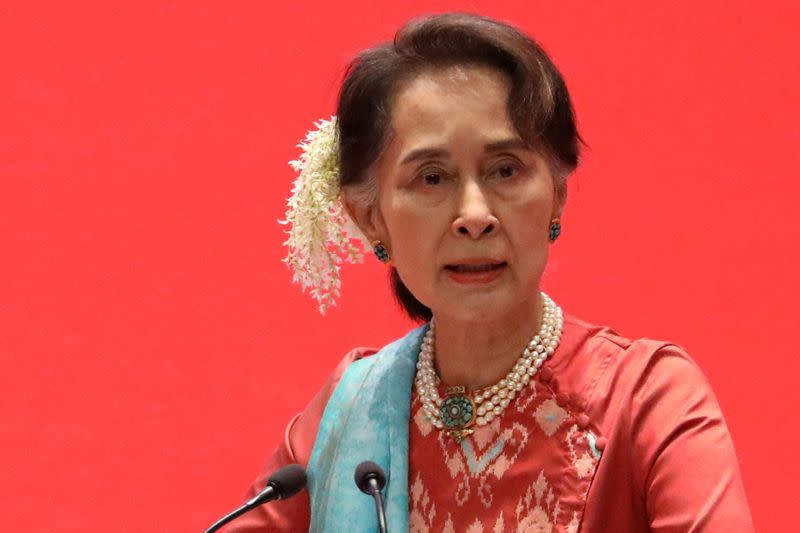FILE PHOTO: Myanmar's State Counsellor Aung San Suu Kyi attends Invest Myanmar in Naypyitaw