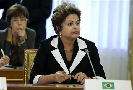 Brazil's President Rousseff attends the first working session of the G20 Summit in Constantine Palace in Strelna near St. Petersburg