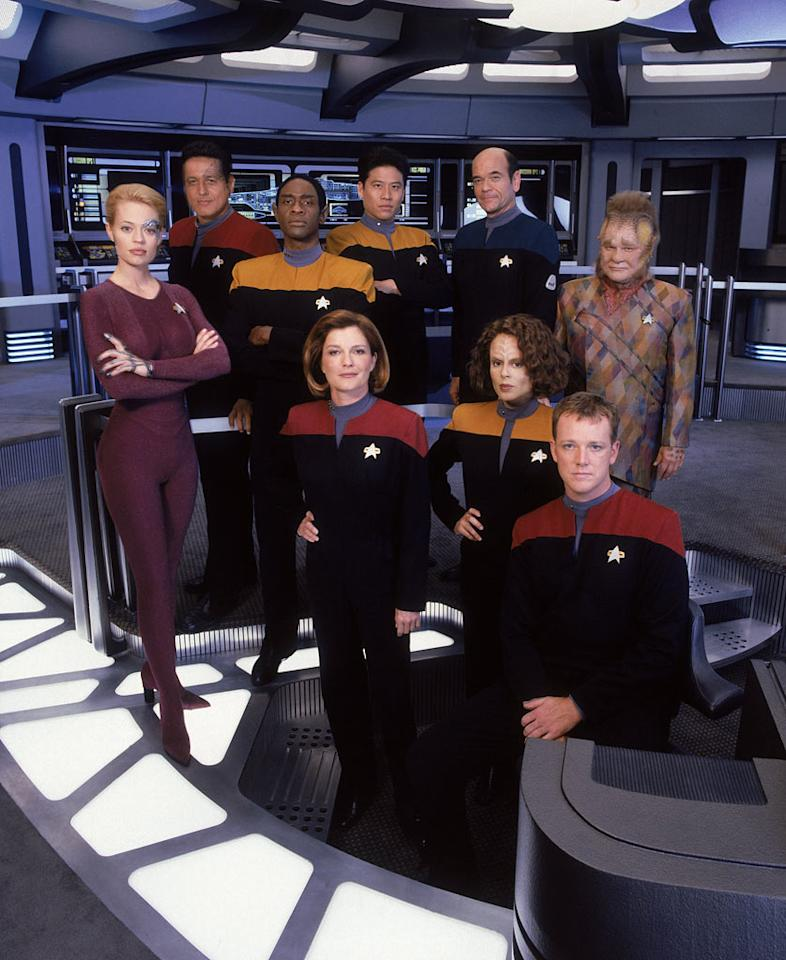 "The fourth Star Trek series, <a href=""/star-trek-voyager/show/222"">""Star Trek: Voyager,""</a> (1995-2001) was the first in the franchise to feature a female commanding officer: Kate Mulgrew as Captain Kathryn Janeway.  A freak wormhole accident strands the crew of the USS Voyager in the Delta Quadrant — 70,000 light years from Earth — facing a 70-year voyage home.  Mixing Star Trek with a little bit of ""Lost in Space,"" Voyager's odyssey through uncharted territory recalled Roddenberry's original promise of strange new worlds, new life, and new civilizations."