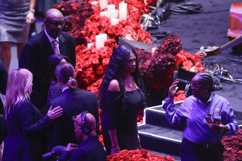 Kobe Bryant's parents Joe and Pam Bryant arrive for a celebration of life for Kobe Bryant and his daughter Gianna Monday, Feb. 24, 2020, in Los Angeles. (AP Photo/Marcio Jose Sanchez)