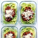 """<p>Forgo regular pasta (and most of the carbs) for spiralized zucchini """"noodles"""" in these make-ahead meals. The zoodles quickly turn tender-crisp as the veggie-packed Bolognese warms in the microwave.</p>"""