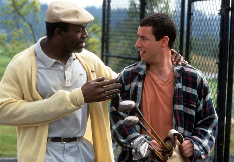 Carl Weathers talks to Adam Sandler in a scene from the film 'Happy Gilmore', 1996. (Photo by Universal/Getty Images)