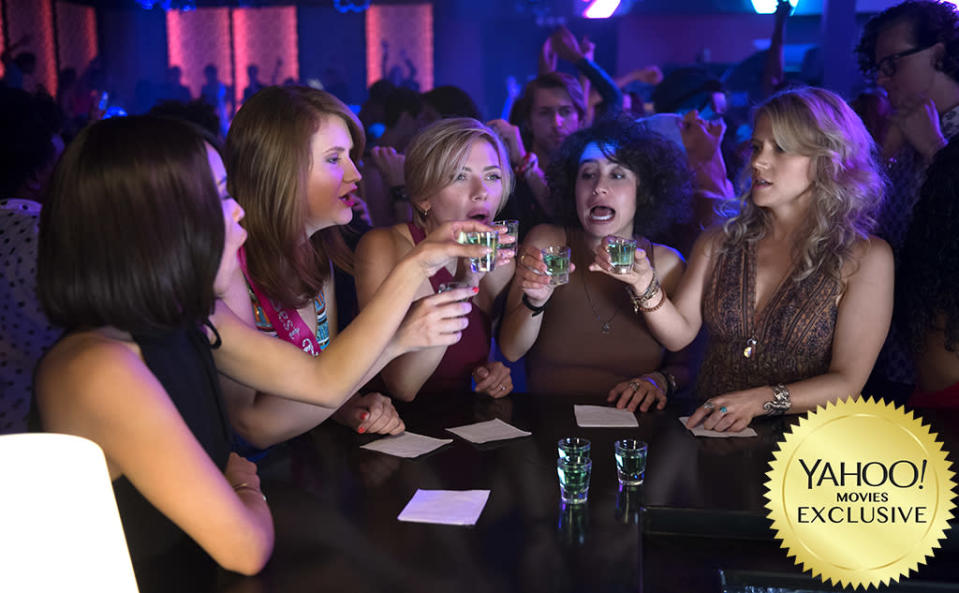 """<p>A gender-flipped take on the """"pre-wedding shenanigans"""" genre, this dark comedy (from two <a rel=""""nofollow"""" href=""""https://www.yahoo.com/tv/tagged/broad-city"""" data-ylk=""""slk:Broad City"""" class=""""link rapid-noclick-resp""""><em>Broad City</em></a> writers) stars <a rel=""""nofollow"""" href=""""https://www.yahoo.com/movies/tagged/scarlett-johansson"""" data-ylk=""""slk:Scarlett Johansson"""" class=""""link rapid-noclick-resp"""">Scarlett Johansson</a>, <a rel=""""nofollow"""" href=""""https://www.yahoo.com/movies/tagged/kate-mckinnon"""" data-ylk=""""slk:Kate McKinnon"""" class=""""link rapid-noclick-resp"""">Kate McKinnon</a>, <a rel=""""nofollow"""" href=""""https://www.yahoo.com/movies/tagged/jillian-bell"""" data-ylk=""""slk:Jillian Bel"""" class=""""link rapid-noclick-resp"""">Jillian Bel</a>l, <a rel=""""nofollow"""" href=""""https://www.yahoo.com/movies/tagged/ilana-glazer"""" data-ylk=""""slk:Ilana Glazer"""" class=""""link rapid-noclick-resp"""">Ilana Glazer</a>, and <a rel=""""nofollow"""" href=""""https://www.yahoo.com/movies/tagged/zoe-kravitz"""" data-ylk=""""slk:Zoë Kravitz"""" class=""""link rapid-noclick-resp"""">Zoë Kravitz</a> as college friends whose Miami bachelorette party takes a murderous turn. 