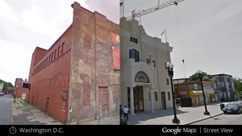 This illustration provided by Google highlights a new Google Maps Street View snapshots feature, which allow users to see what specific neighborhoods and landmarks looked like at different periods during the past seven years that Google Inc. has been dispatching camera-toting cars to take pictures for its maps. This image shows what the Howard Theater in Washington looked like in July 2009, left, and after renovation in May 2012, right. (AP Photo/Google)