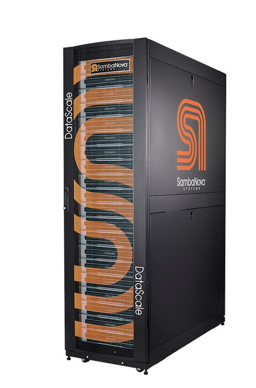 FILE PHOTO: A data center server rack shows the logo of SambaNova Systems in this undated handout photo