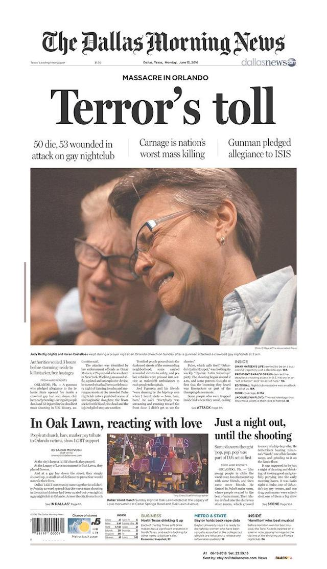<p>The Dallas Morning News<br> Published in Dallas, Texas USA. (newseum.org) </p>