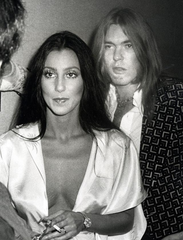 <p>Cher and Gregg Allman of the Allman Brothers Band in New York City, Aug. 23, 1975. (Ron Galella/WireImage/Getty Images) </p>