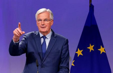 EU's chief Brexit negotiator Barnier holds a joint news conference with Britain's Secretary of State for Exiting the EU Davis in Brussels