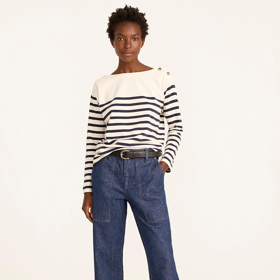 """<br><br><strong>J. Crew</strong> Mariner cloth boatneck T-shirt, $, available at <a href=""""https://go.skimresources.com/?id=30283X879131&url=https%3A%2F%2Fwww.jcrew.com%2Fp%2Fwomens%2Fcategories%2Fclothing%2Ft-shirts-and-tank-tops%2Flong-sleeve%2Fmariner-cloth-boatneck-t-shirt%2FBA355"""" rel=""""nofollow noopener"""" target=""""_blank"""" data-ylk=""""slk:J. Crew"""" class=""""link rapid-noclick-resp"""">J. Crew</a>"""