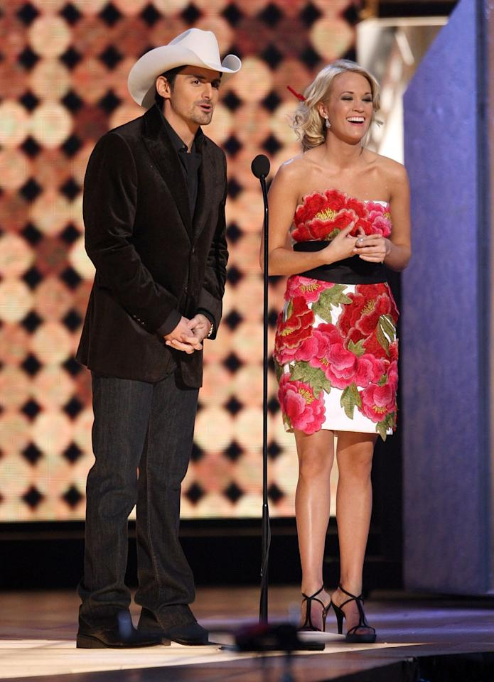 """<p>In 2008, <a rel=""""nofollow"""" href=""""https://www.countryliving.com/life/a23602390/brad-paisley-kimberly-williams-paisley-the-store-free-grocery-store/"""">Brad Paisley</a> and <a rel=""""nofollow"""" href=""""https://www.countryliving.com/life/entertainment/a22673537/carrie-underwood-pregnant/"""">Carrie Underwood</a> both agreed to host the CMA Awards. It turns out, they didn't even need to consult on it; each felt so comfortable with the other's sense of humor that they had no qualms about signing on, <em><a rel=""""nofollow"""" href=""""https://people.com/country/carrie-underwood-brad-paisley-reveal-stories-behind-cma-awards/"""">People</a></em> reported. That leap of faith worked in their favor, as this partnership has continued for more than a decade.</p>"""