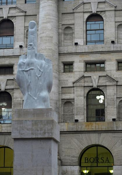 The L.O.V.E. statue by Mourizio Cattelan has been criticised for being anti-capitalist
