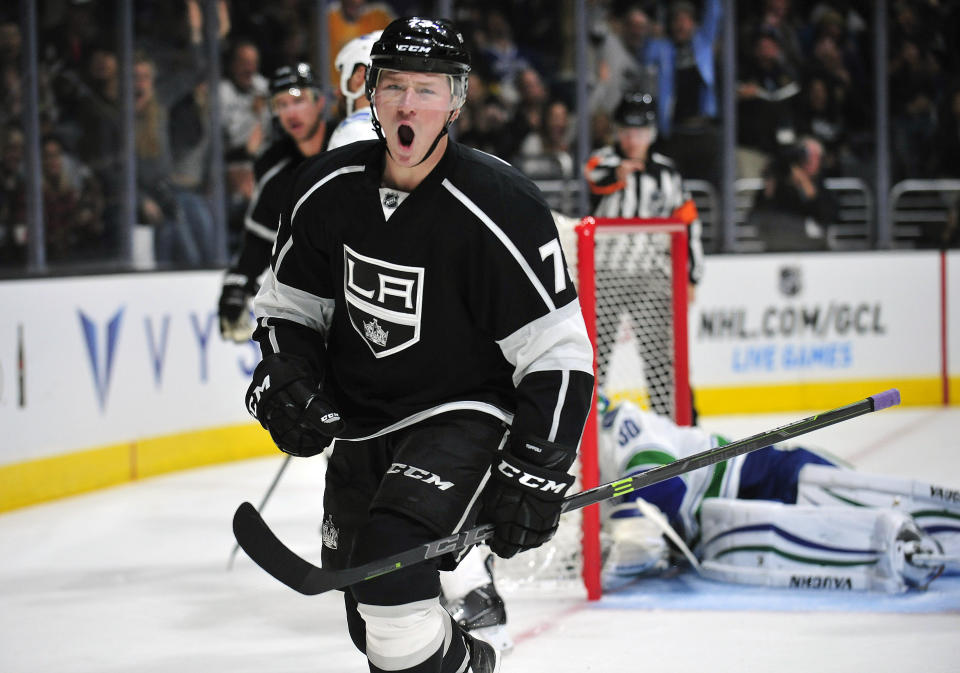 November 8, 2014; Los Angeles, CA, USA; Los Angeles Kings center Tyler Toffoli (73) celebrates after he scores a goal against the Vancouver Canucks during the second period at Staples Center. (Gary A. Vasquez-USA TODAY Sports)