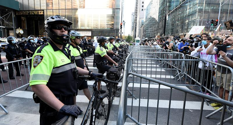 The officers had been deployed to a protest in Lower Manhattan when they stopped in for a meal. Source: Getty Images