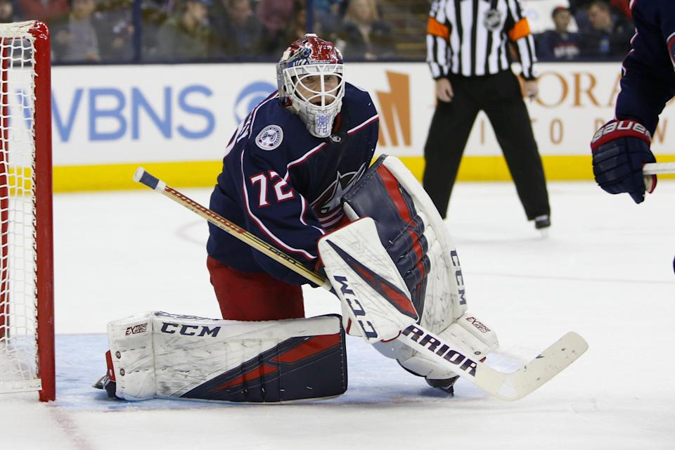 Columbus Blue Jackets' Sergei Bobrovsky, of Russia, plays against the San Jose Sharks during an NHL hockey game Saturday, Feb. 23, 2019, in Columbus, Ohio. (AP Photo/Jay LaPrete)