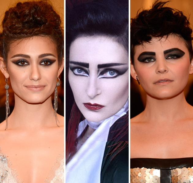 "<div class=""caption-credit""> Photo by: Getty Images</div><div class=""caption-title""></div><b>Emmy Rossum vs. Siouxsie Sioux vs. Ginnifer Goodwin</b> <br> The lead singer of Siouxsie and the Banshees had a goth look, with pale skin, bold brows, and strong cat-eye makeup. Both Emmy and Ginnifer channeled Siouxsie in their own ways. <br>"