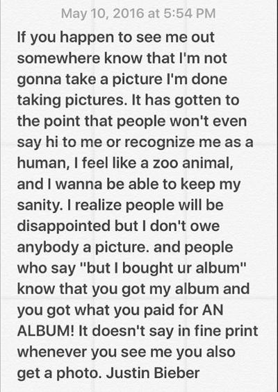 Justin, recently disappointed millions of his fans by stating that never will he again take a pic with anyone on the street, and if you are a fan who bought an album, you've already got what you paid for. Well, not sure if that was quite humble of him.