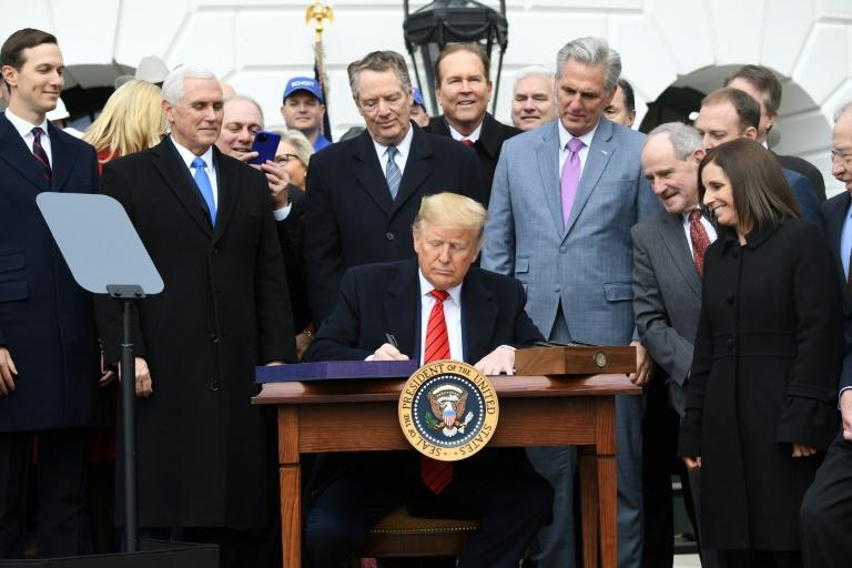 US President Donald Trump signs the United States - Mexico -Canada Trade Agreement, known as USMCA