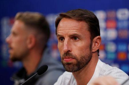 Soccer Football - World Cup - England Press Conference - Nizhny Novgorod Stadium, Nizhny Novgorod, Russia - June 23, 2018 England manager Gareth Southgate during the press conference REUTERS/Carlos Barria