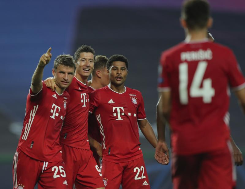 (Left to right) Thomas Müller, Robert Lewandowski and Serge Gnabry led Bayern Munich's blowout of Lyon to reach the Champions League final. (Miguel A. Lopes/Pool via AP)