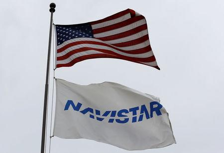 Flags fly outside the Navistar Proving Grounds in New Carlisle, Indiana, U.S., October 12, 2016. REUTERS/Jim Young