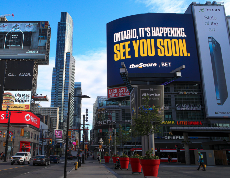 TheScore promotes its sports betting app in Toronto's Yonge-Dundas Square. (TheScore via Twitter.)