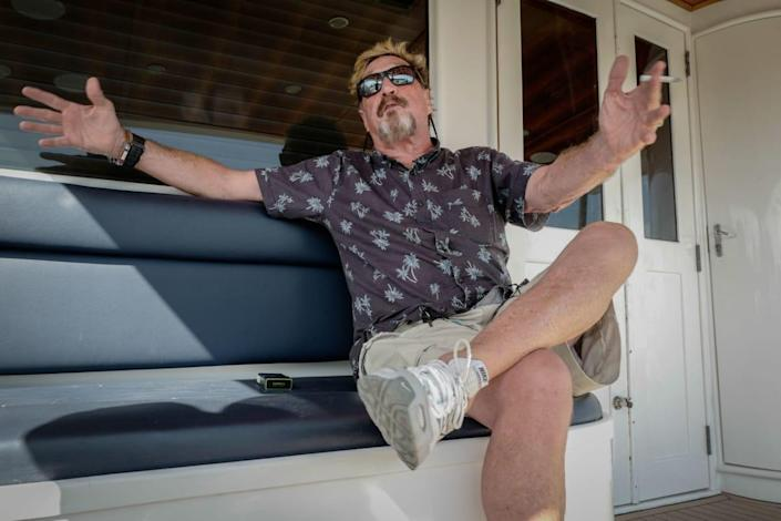 """<div class=""""inline-image__caption""""><p>John McAfee on his yacht anchored at the Marina Hemingway in Havana in 2019. </p></div> <div class=""""inline-image__credit"""">Adalberto Roque/Getty</div>"""
