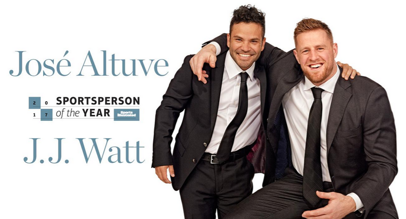 Jose Altuve and JJ Watt share the cover of Sports Illustrated as Sportsperson of the Year. More