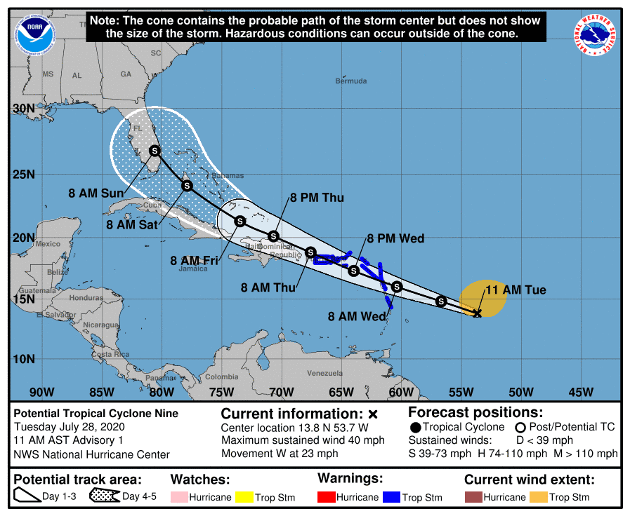 The forecast track of what's expected to become Tropical Storm Isaias shows the system moving directly over Puerto Rico later this week.