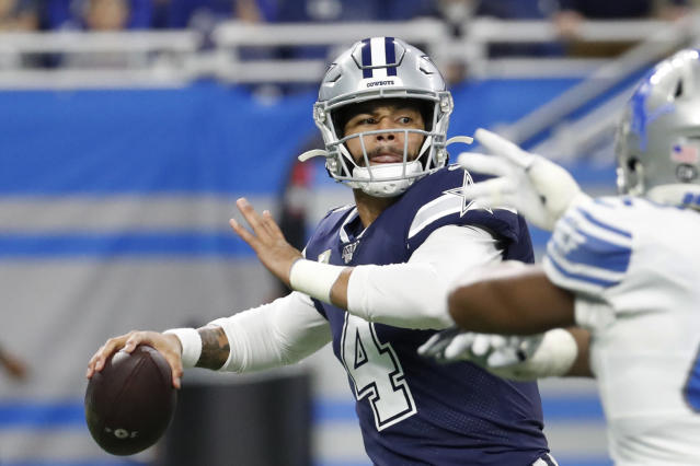 Dak Prescott got the franchise tag from the Cowboys. (AP Photo/Rick Osentoski)