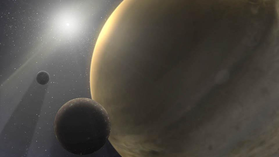 An artist's rendering of a 10-million-year-old star system with a gas-giant planet like Jupiter.