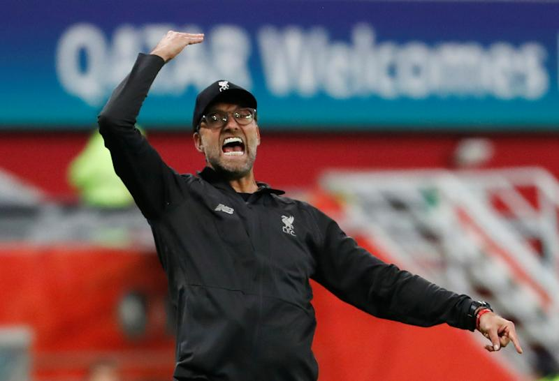 Soccer Football - Club World Cup - Semi Final - Monterrey v Liverpool - Khalifa International Stadium, Doha, Qatar - December 18, 2019 Liverpool manager Juergen Klopp reacts REUTERS/Kai Pfaffenbach