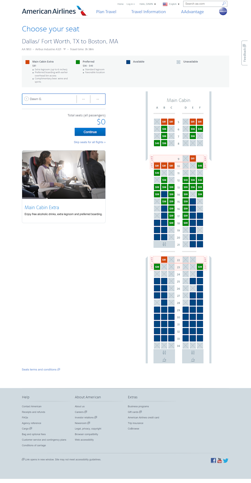 An American Airlines seating chart on a flight between Dallas and Boston. Seats highlighted in green cost extra but don't come with extra legroom or other perks.