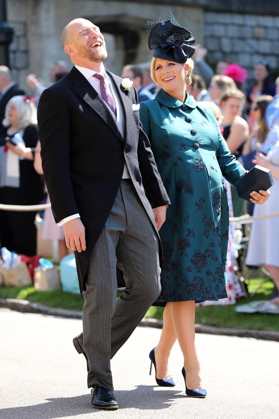 MIke Tindall and Zara Tindall arrives at St George's Chapel at Windsor Castle for the wedding of Meghan Markle and Prince Harry at St George's Chapel on May 19th 2018