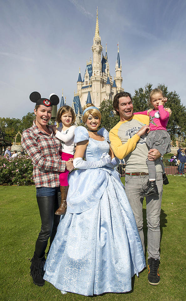 Actress Rebecca Romijn and actor Jerry O'Connell marked their twin daughters' birthday at the Magic Kingdom in Lake Buena Vista, FL, with a visit from Cinderella in front of Cinderella Castle at the Walt Disney World theme park.  The couple, married since 2007, were celebrating the birthdays of Charlie and Dolly.