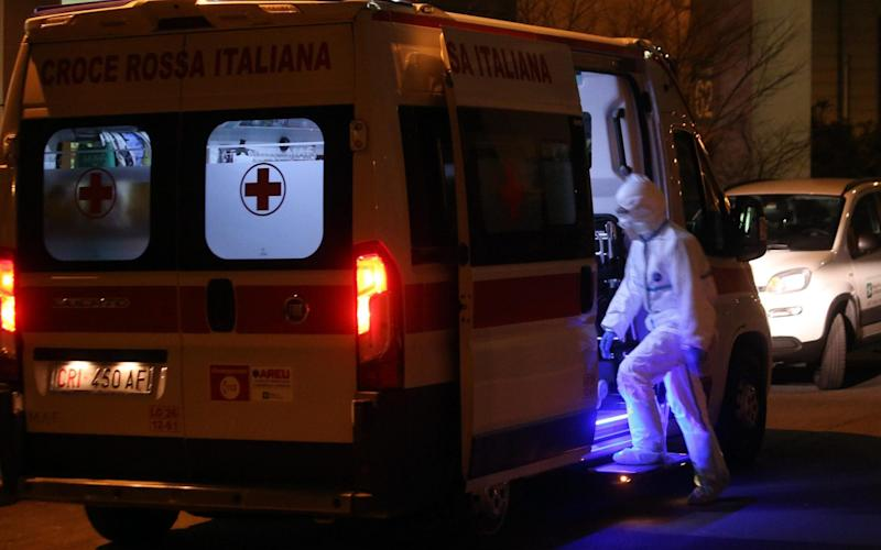 One of the ambulances that transported a person infected by coronavirus to the Sacco Hospital in Milan, Italy. - REX