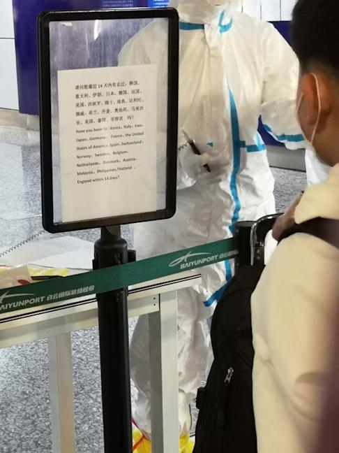 A quarantine notice at the Guangzhou Baiyun International Airport. Photo: Jingjing Huang