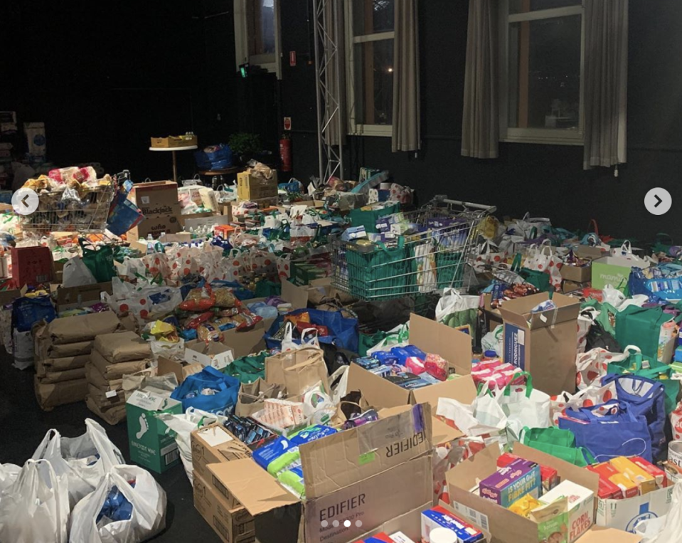 Photo shows groceries collected on Monday for residents of Melbourne public housing towers.