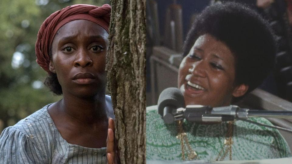 Cynthia Erivo in 'Harriet' and Aretha Franklin in 'Amazing Grace'. (Credit: Focus Features/Neon)